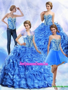 Fashionable Embroidery and Ruffles Royal Blue Quinceanera Dresses