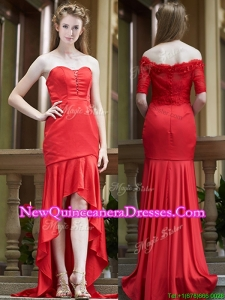 2016 Cheap Column High Low Red Dama Dress with Brush Train