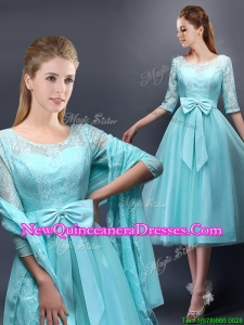 2016 Romantic Aqua Blue Scoop Half Sleeves Dama Dress with Bowknot