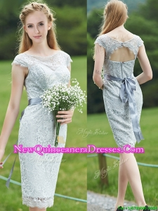 2016 Wonderful Scoop Cap Sleeves Sashes Dama Dress in Grey