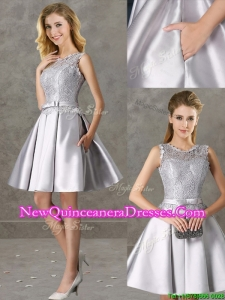 2016 Classical Laced and Bowknot Scoop Dama Dress in Silver
