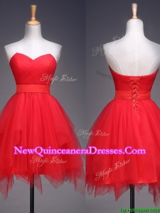 2016 Wonderful Ruffled and Belted Short Dama Dress in Red