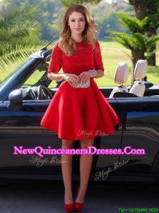 2016 Exquisite Laced Scoop Half Sleeves Dama Dress in Red