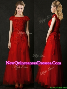 Elegant Empire Applique Red Dama Dress with Cap Sleeves