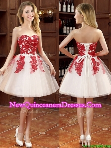 Hot Sale Mini Length Appliques Dama Dress in White