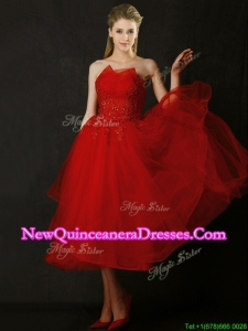 2016 Elegant Tea Length Applique Red Dama Dress with Asymmetrical Neckline