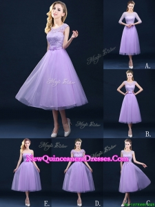 2016 Exclusive A Line Tulle Lavender Dama Dress in Tea Length