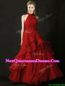2016 Modest A Line Halter Top Tulle Dama Dress with Appliques