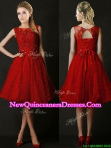 2016 Modest Knee Length Red Dama Dress with Beading and Appliques