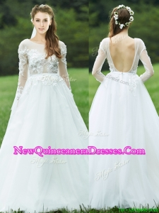 2016 Pretty Applique White Backless Dama Dress with Long Sleeves