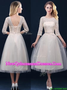 Hot Sale Laced and Applique Champagne Dama Dress in Tea Length