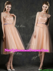 Cheap High Neck Peach Damas Dress with Sashes and Lace
