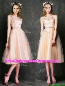 Cheap Laced and Sashed Scoop Damas Dress in Peach