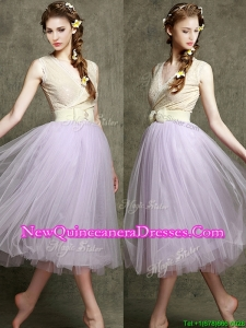 Cheap Lavender V Neck Damas Dress with Bowknot and Belt