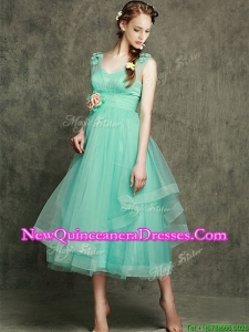 Cheap See Through Straps Damas Dress with Appliques and Hand Made Flowers