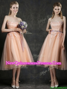 Cheap Strapless Peach Damas Dress with Sashes and Lace