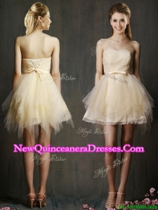 Cheap Sweetheart Short Champagne Damas Dress with Belt and Ruffles