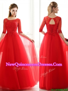 See Through Scoop Half Sleeves Red Damas Dress with Lace and Belt
