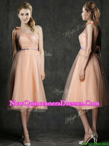 Wonderful One Shoulder Damas Dress with Sashes and Bowknot