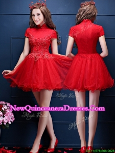 Cheap High Neck Short Sleeves Damas Dress with Appliques and Beading