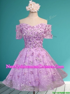 Cheap Off the Shoulder Lilac Damas Dress with Appliques and Beading