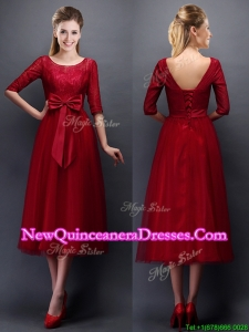 Cheap Scoop Half Sleeves Bowknot Damas Dress in Wine Red