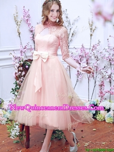 Cheap See Through High Neck Half Sleeves Damas Dress with Bowknot