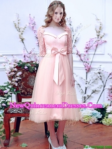 Cheap Square Half Sleeves Bowknot Dama Dress in Baby Pink