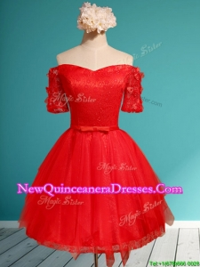 Comfortable Off the Shoulder Short Sleeves Red Damas Dress with Appliques and Belt