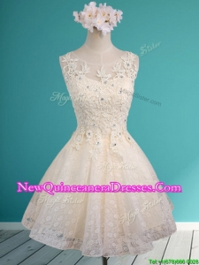 See Through Scoop Short Damas Dress with Beading and Appliques