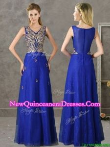 Cheap V Neck Appliques and Beading Damas Dress in Royal Blue