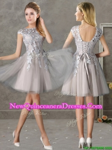 Most Popular Bateau Cap Sleeves Grey Damas Dress with Lace