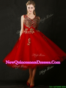Beautiful V Neck Tea Length Damas Dress with Beading and Appliques