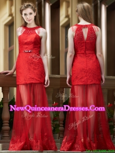 Cheap Belted Red Long Damas Dress in Tulle and Lace