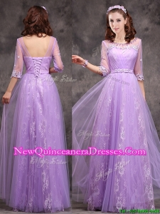 Cheap Half Sleeves Lavender Damas Dress with Appliques and Beading