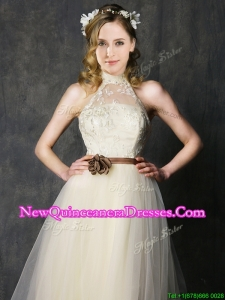 Cheap High Neck Champagne Damas Dress with Hand Made Flowers and Lace