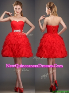 Cheap Really Puffy Red Damas Dress with Beading and Ruffles