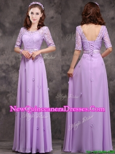 Cheap Scoop Half Sleeves Lavender Damas Dress with Appliques and Lace