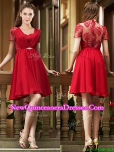 Cheap See Through Back Red Short Damas Dress with Short Sleeves