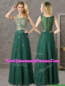 Cheap V Neck Dark Green Damas Dress with Appliques and Beading