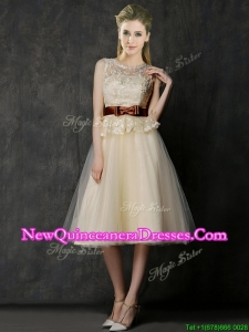 Classical See Through Scoop Damas Dress with Bowknot and Lace
