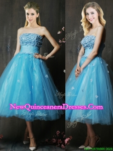 Lovely Strapless Applique Bust Baby Blue Damas Dress in Tea Length