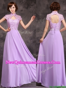 Low Price High Neck Cap Sleeves Lavender Long Damas Dress