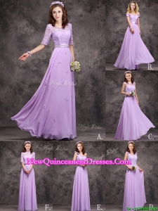 Perfect Applique and Laced Lavender Long Damas Dress in Chiffon