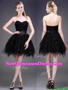 Best Selling Black Short Dama Dress with Ruffles and Belt