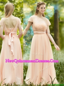 Elegant See Through Scoop Short Sleeves Dama Dress in Peach