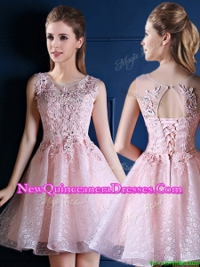 Exquisite Baby Pink Scoop Dama Dress with Appliques and Beading