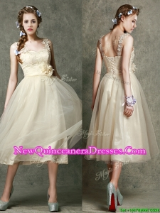 Gorgeous Straps Champagne Dama Dress with Appliques and Hand Made Flowers