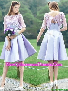 New Style Bateau Half Sleeves Lavender Dama Dress with Appliques