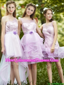 New Style Laced Lavender Tulle Dama Dress For Summer